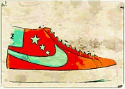 Nike Shoes Prints - NIke Blazer orange Print by Alfie Borg