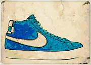 Sneakers Digital Art Prints - Nike Blazer Turq 2 Print by Alfie Borg