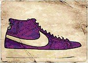 Nike Digital Art Posters - Nike Blazers purple Poster by Alfie Borg