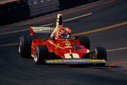 Long Beach Grand Prix Prints - Niki Lauda- Ferrari 312T2-1976 Long Beach Grand Prix Print by Howard Koby