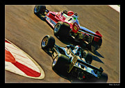 Blake Richards Framed Prints - Niki Lauda leads Mario Andretti Framed Print by Blake Richards