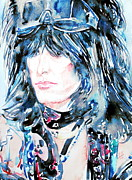 Nikki Sixx Framed Prints - NIKKI SIXX watercolor portrait Framed Print by Fabrizio Cassetta