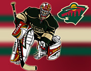 Hockey Mixed Media - Niklas Backstrom by Nate Gandt