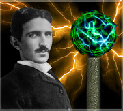 Electrical Engineer Prints - NIKOLA TESLA and his COIL Print by Daniel Hagerman