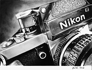 Canon Drawings - Nikon F2 1972 drawing by Gabor Bartal