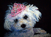 Maltese Dog Posters - Nilla Pet Portrait Poster by Art By Lisabelle