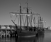 Tall Ships Prints - Nina and Pinta in Black and White Print by Debra Forand