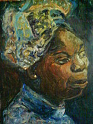 Female Musicians Painting Originals - Nina Simone by Gerald Hubert