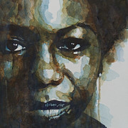 Watercolor  Paintings - Nina Simone by Paul Lovering