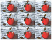 Cartoon Apples Posters - Nine Apples Poster by Barbara Griffin