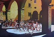 Bicycles Paintings - Nine Bicycles by Kris Parins