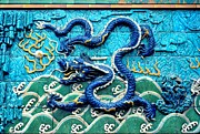 Relief Tile Posters - Nine Dragon Wall in Forbidden City Poster by Anna Lisa Yoder