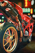 Street Lights Framed Prints - Nine Foot Ducati Framed Print by Guenevere Schwien