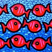 Fish Print Prints - Nine Happy Fish Print by John  Nolan