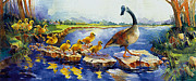 Mother Goose Painting Framed Prints - Nine little goslings Framed Print by Jim Bates