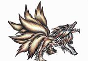 Nine Tails Wolf Demon Print by Shawn Dall
