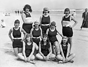White Bathing Suit Framed Prints - Nine Women In Bathing Suits Framed Print by Underwood Archives