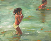 Timi Johnson Prints - Ninos en la playa Print by Timi Johnson