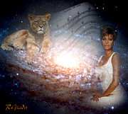 Constellation Digital Art - Nippy the graceful lioness by Giada Rossi
