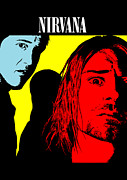 Rock Guitar Player Framed Prints - Nirvana No.01 Framed Print by Caio Caldas