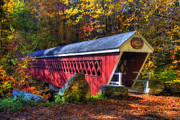 Autumn Scenes Metal Prints - Nissitissit Bridge Brookline NH Metal Print by Joann Vitali