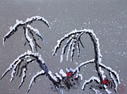 First Snow Paintings - Niwa ni Hatsuyuki  2  by Pg Reproductions