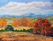 Aerial Perspective Paintings - Nixons Brilliant Autumn View Alongside The Blue Ridge by Lee Nixon