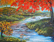 Youthful Painting Metal Prints - Nixons Brilliant View of Fall Alongside the Rapidan River Metal Print by Lee Nixon