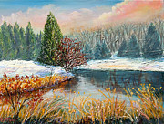 Gravel Road Paintings - Nixons Colorful Winter View of Greggs Pond by Lee Nixon