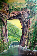 Impressionist Mixed Media - Nixons Glorious View of Natural Bridge by Lee Nixon