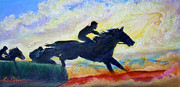 Steeplechase Race Framed Prints - Nixons The Race Is On No. 1   Framed Print by Lee Nixon