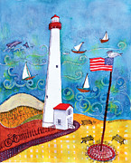 Salt Air Paintings - Nj Lighthouse by Deborah Burow