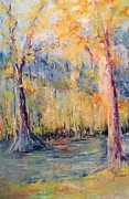 Yellows Pastels Prints - NLR Lake Study  Print by Robin Miller-Bookhout