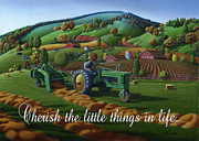 John Deere Paintings - no 21 Cherish the little things in life 5x7 greeting card  by Walt Curlee