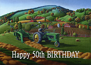 John Deere Paintings - no 21 Happy 50th Birthday 5x7 greeting card  by Walt Curlee