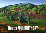 John Deere Paintings - no 21 Happy 70th Birthday 5x7 greeting card  by Walt Curlee