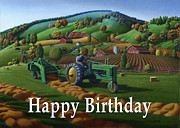 John Deere Paintings - no 21 Happy Birthday 5x7 greeting card  by Walt Curlee