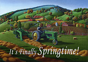John Deere Paintings - no 21 Its Finally Springtime 5x7 greeting card  by Walt Curlee