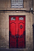 Painted Door Prints - No. 24 - The Red Door Print by Mary Machare