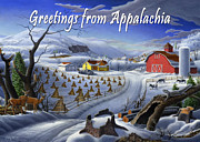 Old Barn Paintings - no 3 Greetings from Appalachia by Walt Curlee