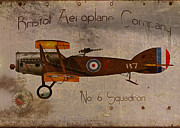 Vintage Airplane Metal Prints - No. 6 Squadron Bristol Aeroplane Company Metal Print by Cinema Photography
