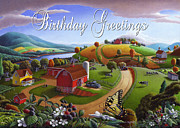 Folksy Paintings - no 7 Birthday Greetings 5x7 greeting card  by Walt Curlee
