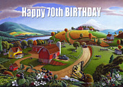 Folksy Paintings - no 7 Happy 70th Birthday 5x7 greeting card  by Walt Curlee