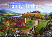 Folksy Paintings - no 7 Happy Birthday 5x7 greeting card  by Walt Curlee