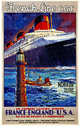 Shipping Digital Art Posters - No Better Advice Than To Travel - French Line Poster by Nomad Art And  Design