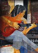 Guitar Player Mixed Media Prints - No Direction Print by Belinda Lima