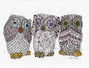 70s Drawings - No Evil Owls by Paula Dickerhoff