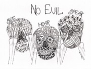 Skeletons Drawings - No Evil Skeletons by Paula Dickerhoff