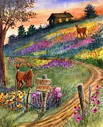 Old Fence Posts Painting Prints - No Hunting Print by Marilyn Smith