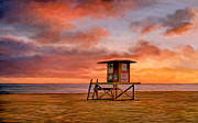 California Coast Paintings - No Lifeguard on Duty at the Wedge by Michael Pickett